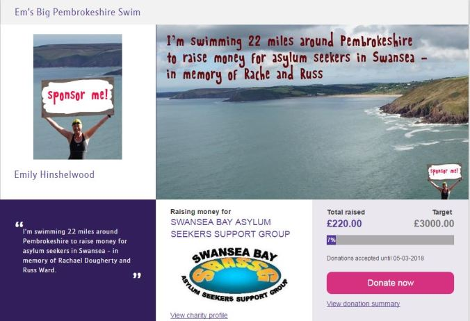 2017-06-19 10_31_54-Em's Big Pembrokeshire Swim for SWANSEA BAY ASYLUM SEEKERS SUPPORT GROUP on MyDo