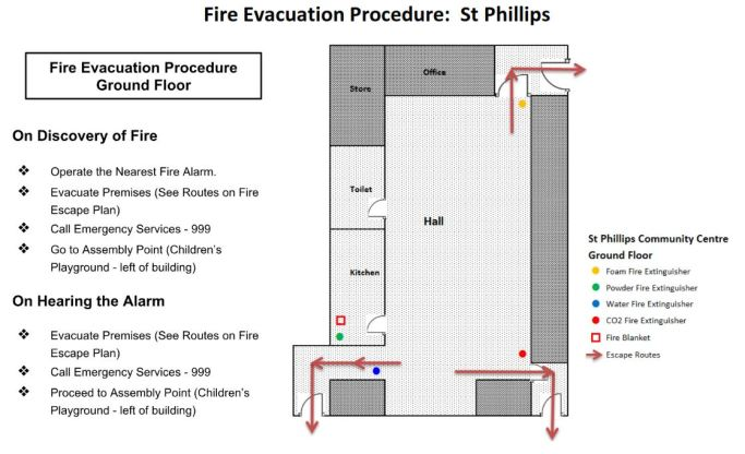 01 - St Phillips - GROUND FLOOR - fire evacuation plan